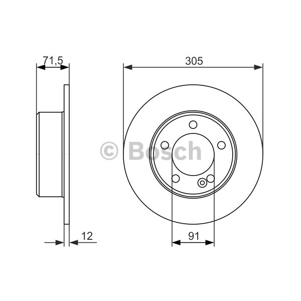ORIGINAL BOSCH Bremsscheiben Satz Hinterachse Opel Movano II ua. - 0 986 479 714